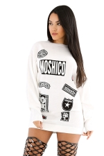Womens Letter Printed Crewneck Long Sleeve Pullover Sweatshirt White