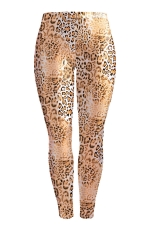 Womens Skinny Leopard Printed Buff Lift Leggings Brown