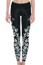 Womens High Waist Butterfly Printed Ankle Length Yoga Leggings Black