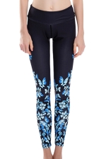 Womens High Waist Butterfly Printed Ankle Length Yoga Leggings Blue