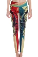 Womens High Waist Lion Printed Ankle Length Yoga Leggings Red