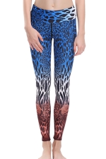 Womens High Waist Leopard Printed Ankle Length Yoga Leggings Blue