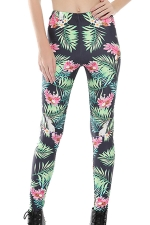 Womens Skinny Flower and Leaf Printed Leggings Green