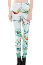 Womens Skinny Flying Birds Printed Leggings Green