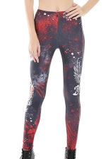 Womens Skinny Zombie Killer Printed Leggings Ruby