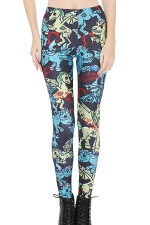 Womens Skinny Flying Unicorn Printed Leggings Turquoise