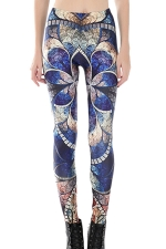 Womens Skinny High Waist Retro Totem Printed Leggings Blue