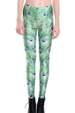 Womens Skinny High Waist Peacock Feather Printed Leggings Green