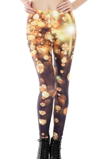 Womens Skinny High Waist Diamond Printed Leggings Gold