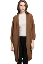 Womens Batwing Sleeve Big Pockets Plain Cardigan Sweater Camel