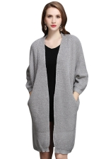 Womens Loose Batwing Sleeve Big Pockets Plain Midi Cardigan Sweater Light Gray