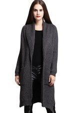Womens Turndown Collar Side Slit Midi Cardigan Sweater Dark Gray