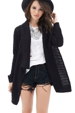 Womens Loose Asymmetric Long Sleeve Plain Cardigan Sweater Black