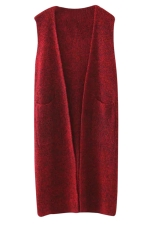 Womens Plain Two Pockets Sleeveless Cardigan Sweater Dark Red
