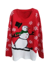 Womens Snowman Patterned Ugly Christmas Pullover Sweater Red