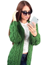 Womens Retro Cable Knitted Long Sleeve Plain Cardigan Sweater Green
