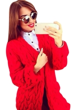 Womens Retro Cable Knitted Long Sleeve Plain Cardigan Sweater Red