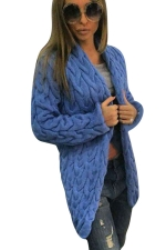 Womens Retro Cable Knitted Long Sleeve Cardigan Sweater Sapphire Blue