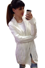 Womens Retro Cable Knitted Long Sleeve Plain Cardigan Sweater White