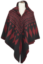 Womens Rhombus Patterned Warm Shawl Scarf Dark Red