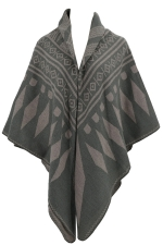 Womens Rhombus Patterned Warm Shawl Scarf Khaki