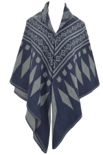 Womens Rhombus Patterned Warm Shawl Scarf Navy Blue