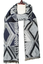 Womens Winter Rhombus Patterned Warm Scarf Gray