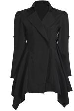 Womens Lapel Collar Tunic Irregular Hem Plain Trench Coat Black