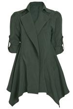 Womens Lapel Collar Tunic Irregular Hem Plain Trench Coat Green