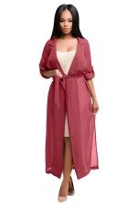 Womens Notched Lapel Sheer Chiffon Long Trench Coat Pink