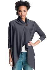 Womens Asymmetric One Button Long Sleeve Plain Blazer Dark Gray