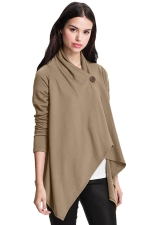 Womens Asymmetric One Button Long Sleeve Plain Blazer Khaki