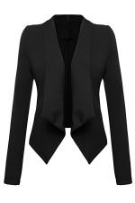 Womens Lapel Collar Long Sleeve Plain Blazer Black