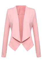 Womens Lapel Collar Long Sleeve Plain Blazer Pink