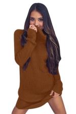 Womens Cowl Neck Long Sleeve Plain Pullover Sweater Dress Brown