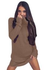 Womens Cowl Neck Long Sleeve Plain Pullover Sweater Dress Khaki
