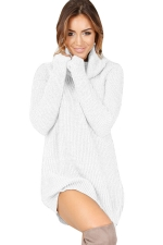 Womens Cowl Neck Long Sleeve Plain Pullover Sweater Dress White