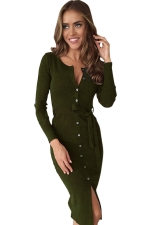 Womens Single-breasted Slit Front Long Sleeve Sash Dress Army Green