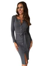 Womens Single-breasted Slit Front Long Sleeve Sash Midi Dress Gray