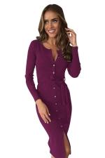 Womens Single-breasted Slit Front Long Sleeve Sash Midi Dress Purple