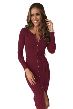 Womens Single-breasted Slit Front Long Sleeve Sash Midi Dress Ruby