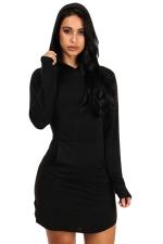 Womens Long Sleeve Hooded Side Slit Plain Mini Dress Black