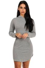 Womens Long Sleeve Hooded Side Slit Plain Mini Dress Gray