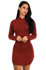 Womens Long Sleeve Hooded Side Slit Plain Mini Dress Ruby