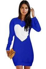Womens Crewneck Heart Printed Long Sleeve Sweatshirt Dress Blue