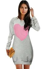Womens Crewneck Heart Printed Long Sleeve Sweatshirt Dress Gray