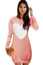Womens Crewneck Heart Printed Long Sleeve Sweatshirt Dress Pink