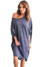 Womens Loose Batwing Sleeve Plain Smock Dress Blue