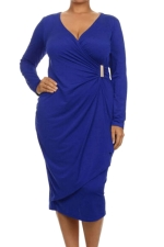 Womens Asymmetric Wrap Long Sleeve Midi Plus Size Dress Blue