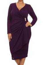 Womens Asymmetric Wrap Long Sleeve Midi Plus Size Dress Purple
